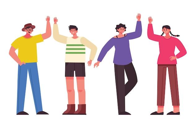 Lächelnde menschen geben high five