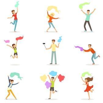 Lächelnde menschen tanzen mit schal eingestellt für. karikatur detaillierte bunte illustrationen