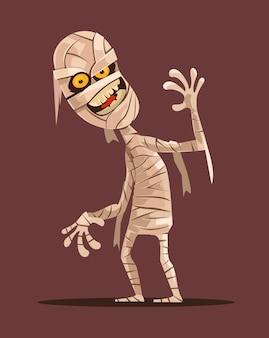 Lächelnde mumienfigur, die flache karikaturillustration geht