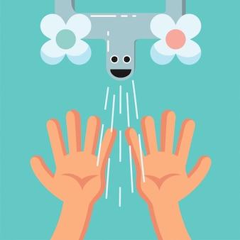 Lächelnde nette waschende hände eines kindes