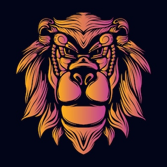 Lächelnde retro- grafikillustration des dekorativen gesichtes des löwenkopfes