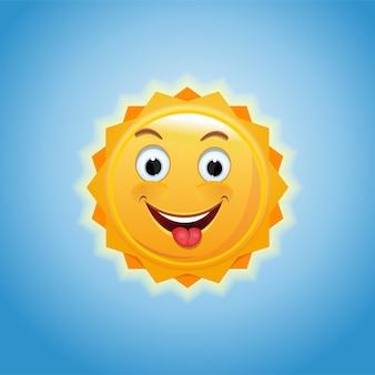 Lächelnde sonne gegen den blauen himmel. ein fröhlicher kleiner sonnenschein zeigt eine zunge. fröhliche anthropomorphe sonne. illustration