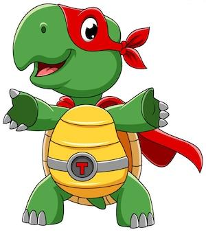 Lächelnde superhelden-schildkrötenkarikaturfigur der illustration