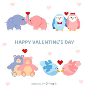Lächelnde tierpaarsammlung des valentinsgrußes