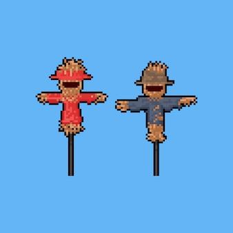 Lächelnde vogelscheuche der pixelkunst-karikatur