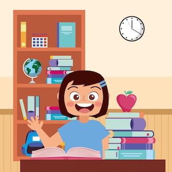 Lächelnde wellenartig bewegende hand des glücklichen studenten in der schule