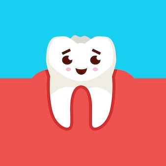 Lächelnde zahnkarikaturfigur. kariespräventionskonzept. vektorillustration.