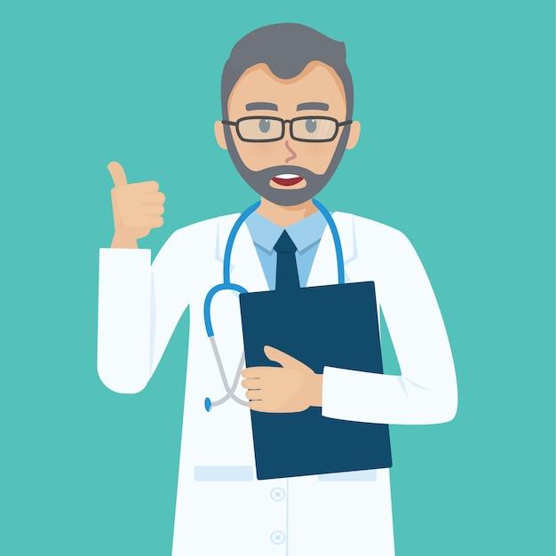 Lächelnder älterer doktor zeigt die daumen herauf die geste, die kühl ist.
