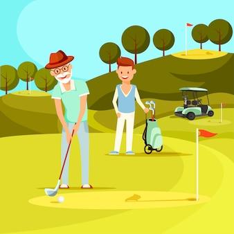 Lächelnder älterer mann, der ball mit golfclub schlägt.
