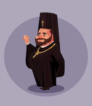Lächelnder alter bartorthodoxiepriesterpastor-papstbischof gekleidet im schwarzen uniformanzug. religion.