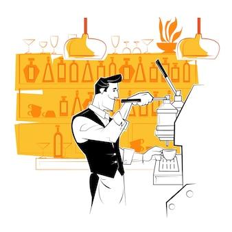 Lächelnder barista, der kaffee mit kaffeemaschine zubereitet.