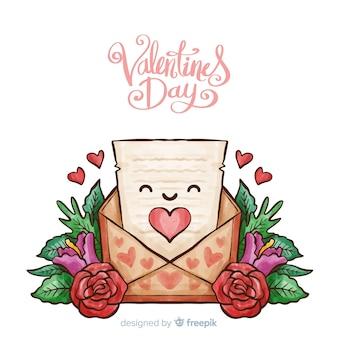 Lächelnder brief valentinstag hintergrund
