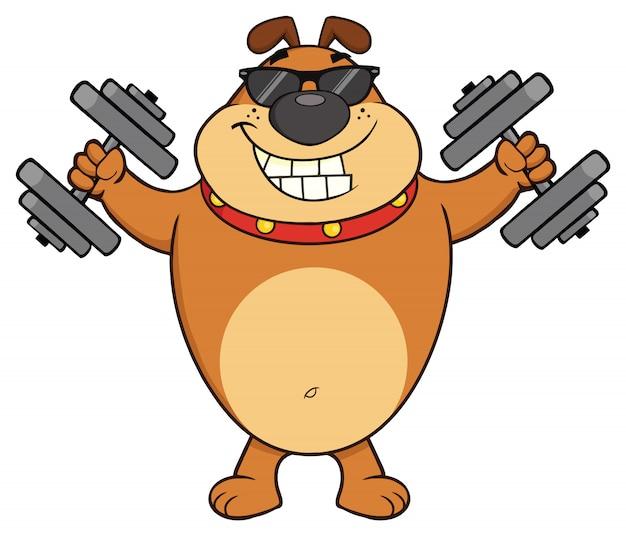 Lächelnder bulldoggen-karikatur-maskottchen-charakter mit der sonnenbrille, die mit dummköpfen ausarbeitet