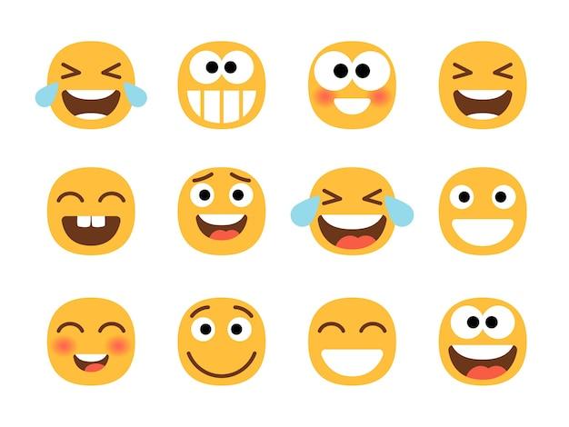 Lächelnder cartoon-emoji-satz