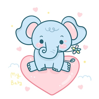 Lächelnder elefant auf herzkarikatur