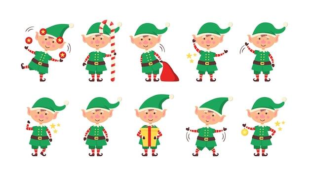 Lächelnder elf, der geschenke packt. sammlung von weihnachtselfen lokalisiert auf weißem hintergrund. lustiger und freudiger helfer santa, der weihnachtsgeschenk und dekorationsweihnachtsbaum sendet. frohes neues jahr. vektor.
