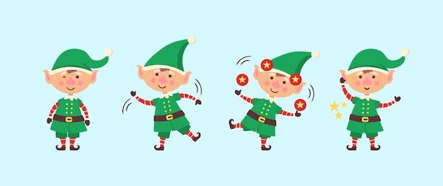 Lächelnder elf, der geschenke packt. sammlung von weihnachtselfen lokalisiert auf weißem hintergrund. lustiger und freudiger helfer santa, der weihnachtsgeschenk und dekorationsweihnachtsbaum sendet.
