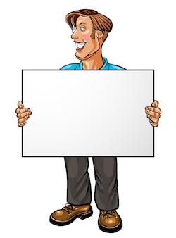 Lächelnder geschäftsmann, der eine weiße leere fahne hält. vektor-illustration