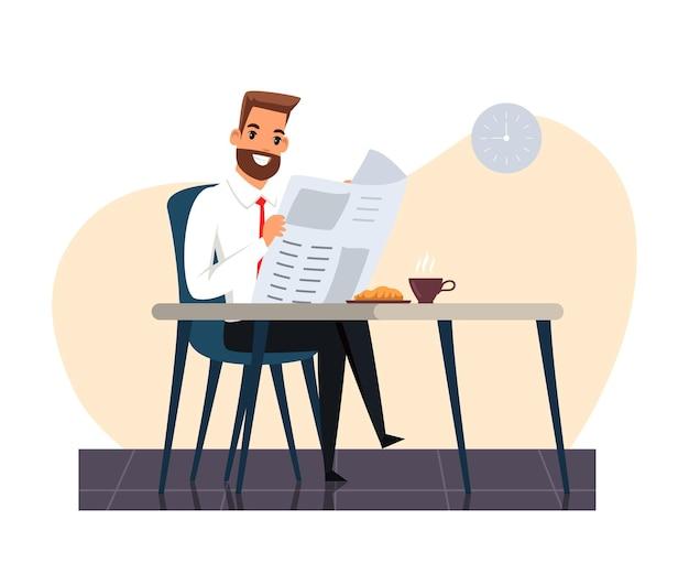 Lächelnder geschäftsmanncharakter, der auf stuhl am tisch sitzt und zeitung während der kaffeepause im büro liest