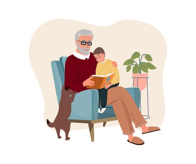 Lächelnder großvater, der seinen enkel hält und das buch großvatertag-vektorillustration liest