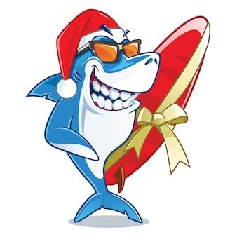 Lächelnder haifisch mit sonnenbrille und sankt-hutvektorzeichentrickfilm-figur-holding eingewickelt mit einem bandsurfbrett
