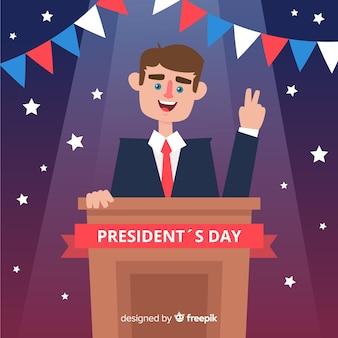Lächelnder hintergrund des präsidenten präsidenten tag