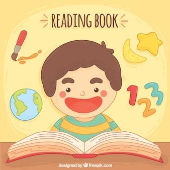 Lächelnder junge lesung hintergrund