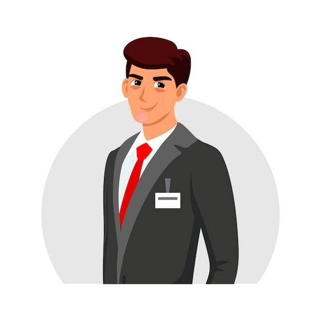 Lächelnder junger gutaussehender geschäftsführer, administrator, beratercharakter, der formellen anzug mit abgeschnittenem avatar des abzeichens trägt