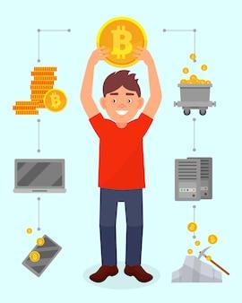 Lächelnder junger mann, der große bitcoin-münze über seinem kopf hält, kryptowährungs-bergbautechnologie, kryptowährungs-bergbautechnologie illustration