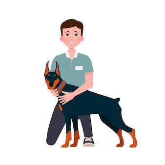 Lächelnder junger mann, der ihren hund umarmt