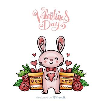 Lächelnder kaninchen-valentinstaghintergrund