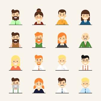 Lächelnder karikaturleute-avatarasatz