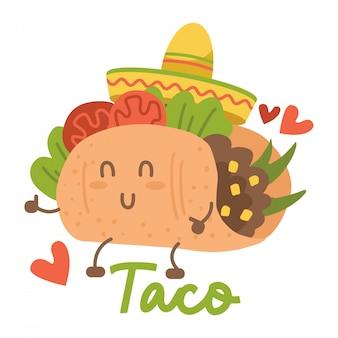 Lächelnder kawaii beäugter taco, der mexikanischen sombrerohut tanzt. karikaturillustration lokalisiert auf weißem hintergrund. humanisierter mexikanischer taco, der spaß hat