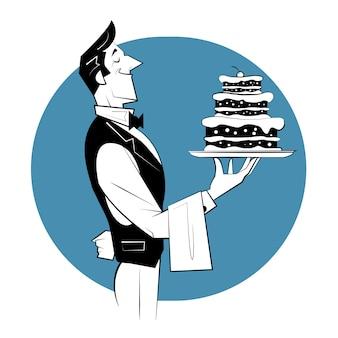 Lächelnder kellner mit kuchen. retro-illustration im skizzenstil.