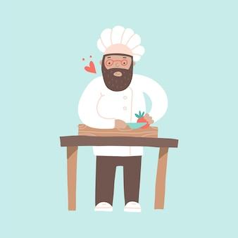 Lächelnder koch, der gemüse mit einem messer schneidet, das gerichte mit liebesherz zubereitet, fliegt um ihn herum glücklicher koch einzeln auf einer blauen hintergrundkarikaturillustration im flachen stil
