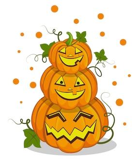 Lächelnder kürbiskopf für halloween-party halloween-charakter im cartoon-stil