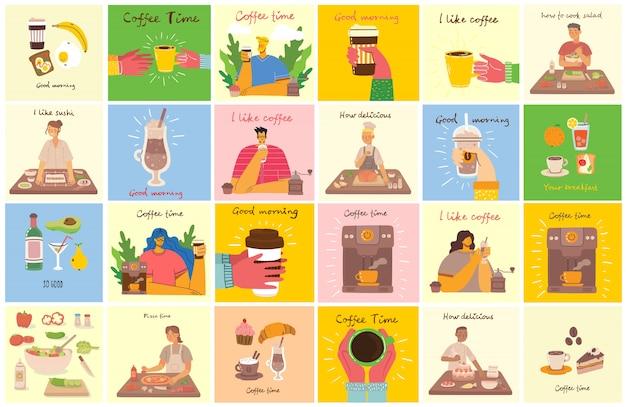 Lächelnder leutefreund, der kaffee trinkt und spricht. kaffeezeit, pause und entspannung konzeptkarten. illustration im flachen designstil