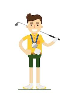Lächelnder männlicher golfspieler mit golfclub