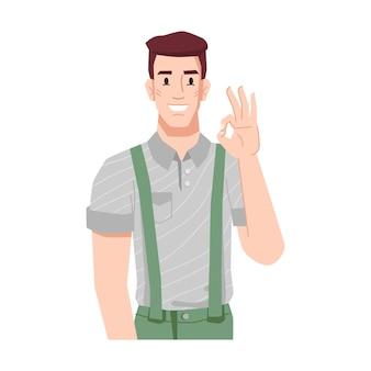 Lächelnder mann, der ein ok-gesten-zustimmungszeichen zeigt