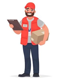Lächelnder mann kurier mit einem paket. im cartoon-stil