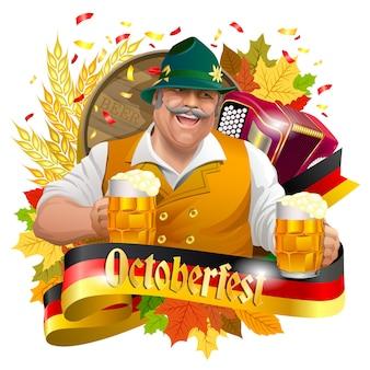 Lächelnder mann mit bierkrügen, oktoberfest-aufkleber mit bandfahne, ohren des weizens