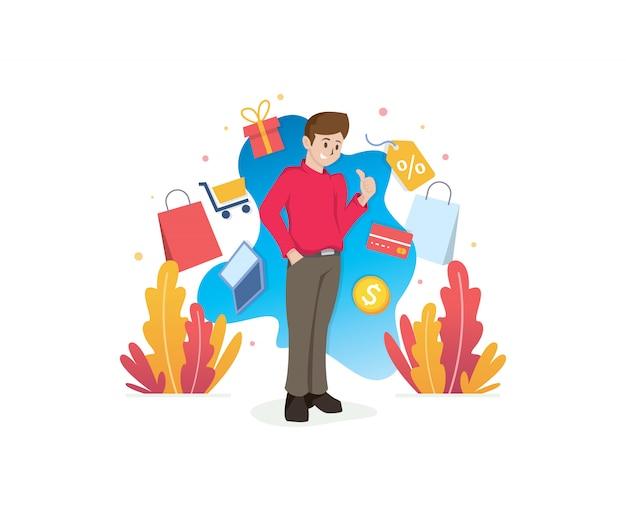 Lächelnder mann mit einkaufskonzeptillustration