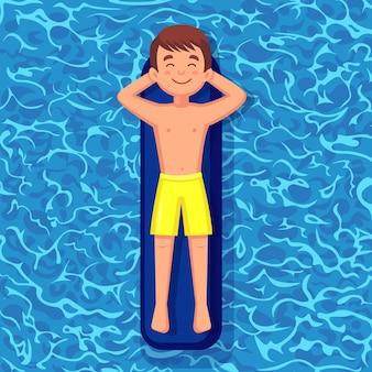 Lächelnder mann schwimmt und bräunt auf luftmatratze im schwimmbad. charakter, der auf spielzeug auf wasserhintergrund schwimmt. unfähiger kreis. sommerferien, ferien, reisezeit. illustration