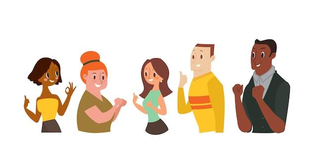 Lächelnder mann und frauen, die ok zeichen gestikulieren, daumen hoch zeigen. cartoon-illustration
