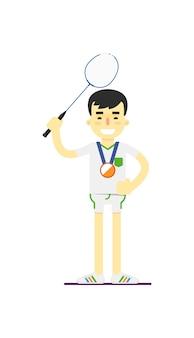 Lächelnder mannbadmintonspieler mit medaille