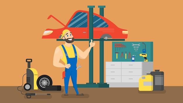 Lächelnder mechaniker in uniform, der vor rotem auto steht. autoreparaturservice. motordiagnose durchführen. illustration.