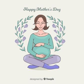 Lächelnder muttertaghintergrund der schwangeren frau