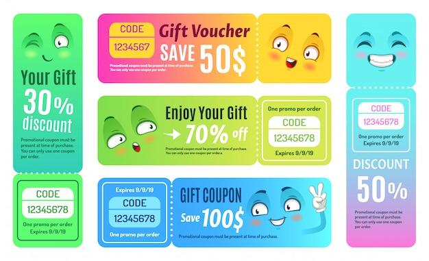 Lächelnder promo-gutschein. glücklicher geschenkgutschein, lustige geschäftsgutscheine und geschenkcode-gutscheinschablonensatz