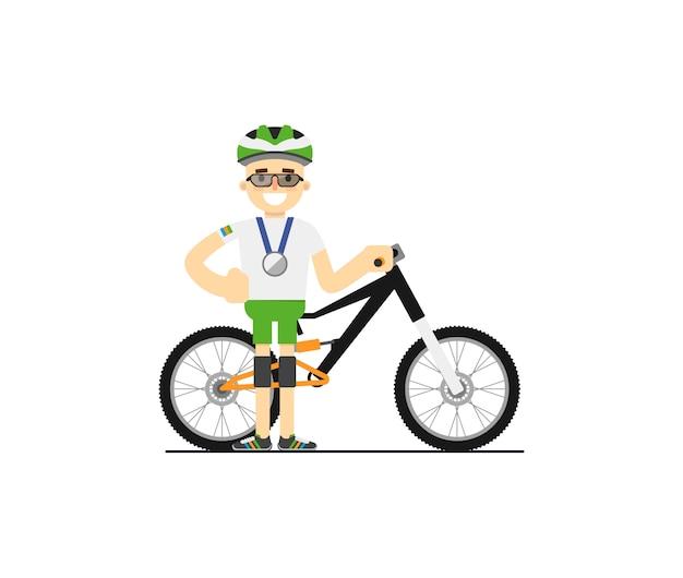 Lächelnder radfahrer mit mountainbike