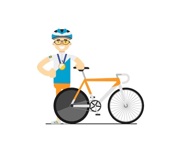 Lächelnder radfahrer mit rennrennrad
